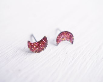 Tiny Pink Glitter Moon Stud Earrings