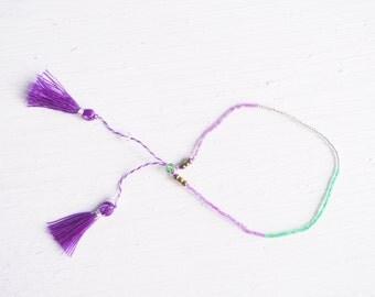 Beaded Purple Tassel Bracelet