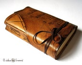 """Personalized Leather Journal, Custom Monogram, Brown Leather Notebook, Text Writing Journal, Brown Travel Journal """"Summum Meditatio""""A6"""