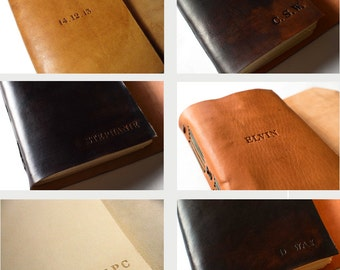 Custom engraving on leather journal cover with Initials/ Date / Name / Quote. Personalize the cover of your leather journal.