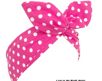 Pink with white polka dot wire rockabilly Pin up wire headband Kawaii