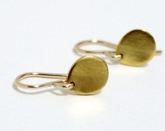 Simple Gold Earrings / Minimalist Earrings / Dainty Tiny Earrings / Small Teardrop / Rustic / Petite Jewelry / Everyday Earrings