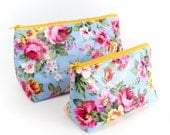 Rose Oilcloth Fabric Cosmetic Bag Set Waterproof Bags Small or Large PVC Makeup Bag Mother Gift Idea Toiletry Bag