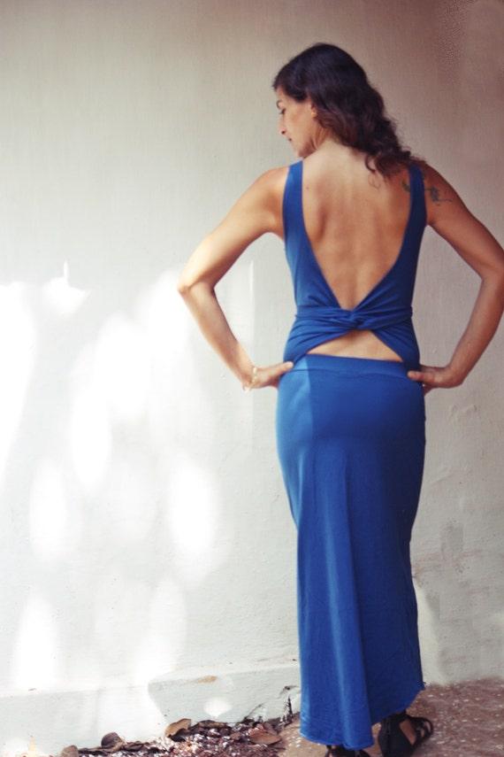 Blue Maxi Dress, Wrap Dress, Open back dress, Goddess dress, Convertible Dress, Backless Dress ~ Made To Order Dress