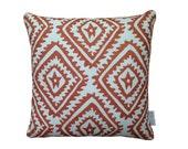 SALE: Copper Jagged Diamond linen cushion cover with copper trim