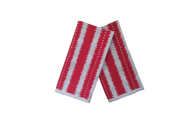 SALE: Red jagged stripes linen napkins (set of 4)