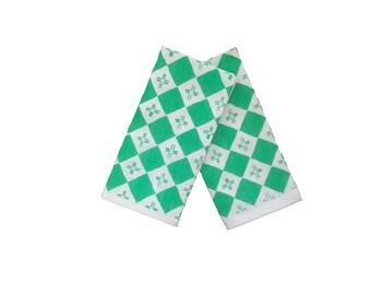 Sea green checkers linen napkins (set of 4)