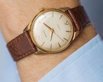 Retro men's watch gold plated AU 20, watch Rocket shockproof, groom's watch gold, rare design mens watch USSR, premium leather strap new