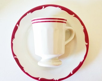 Vintage Cups Plates Tea Coffee Cups Saucers Cups Dinnerware Syracuse China Restaurantware Maroon Grey Striped Cups Saucers Vintage Dishes
