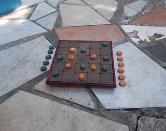 Egyptian Seega Game Board , brown tiles and turquoise motifs with scarab pawns in green and yellow - Made to order