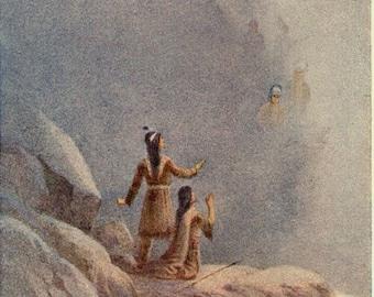 Antique Print, Native American Indian Men supernatural, 1914, beautiful wall art vintage illustration feathers
