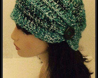 Crocheted Old Style Flapper Hat!  Ready to Ship! Hand dyed/hand spun yarn!