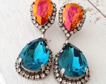 Teal and orange pink crystal earrings,Turquoise orange Chandelier earrings, Bridal earring, Drop earrings ,Swarovski earring, Silver or gold