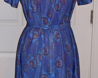 Vintage 1970s Ladies Blue Paisley Print Dress w/ Matching Jacket by Nancy II Size 12 1/2 Only 10 USD