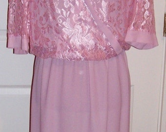 Vintage Ladies Pink Dress w/ Lace Bodice by Monica Richards Size 12 Only 10 USD
