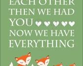 Orange and Green Nursery, Fox Nursery Decor, Woodland Nursery Decor, Orange Fox Decor, Fox Family, Twin Nursery Decor - 8x10