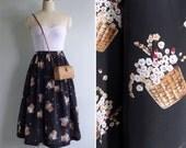 Vintage 80's Flower Baskets Novelty Print Gathered Black Full Skirt XS