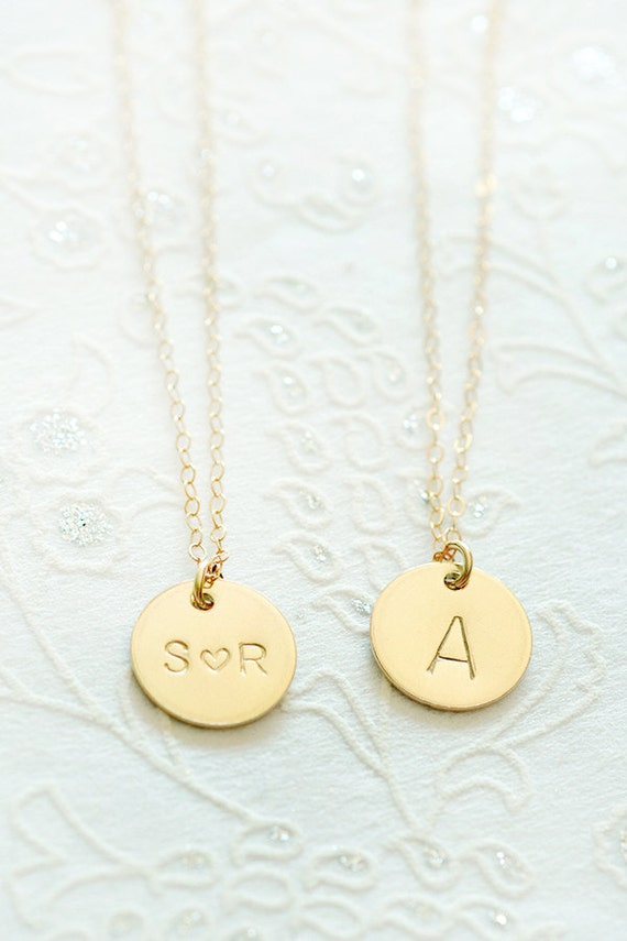 Gold initial necklace custom hand stamped jewelry pendant for Custom letter necklace gold