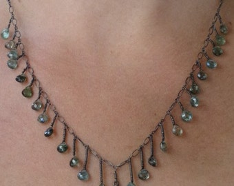 Oxidized Labradorite and Green Tourmaline Necklace