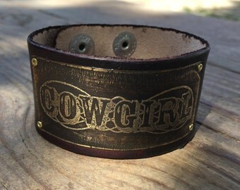 Cowgirl Leather Bracelet, Etched Brass, Nickel Silver, or Copper, Custom Leather colors
