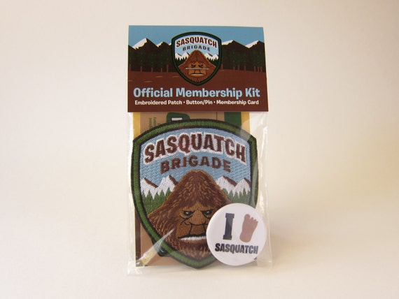 Sasquatch Brigade Membership Kit: Embroidered Patch, Card, Button/Pin (Velcro hook & loop available)