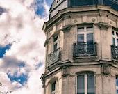 Paris Photography, Architecture Art, Tan and Black Decor, Paris Print, Sky Photography, Cloud Photo, Paris Decor, Fine Art Photography