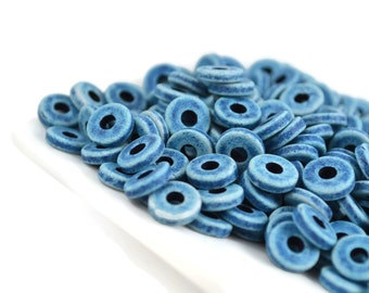 Mykonos 8mm Round Washer - Denim Blue - Greek Ceramic Beads - QTY: 50, 100 or 150