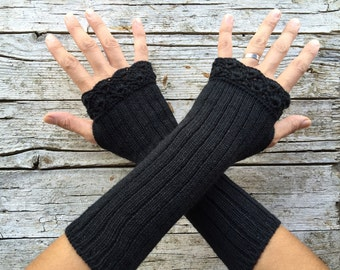 Long gothic gloves, black arm warmer
