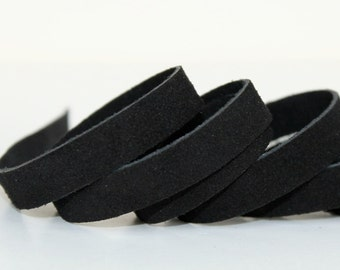 20 mm Black  Suede Genuine Leather Strap, 1 Yard