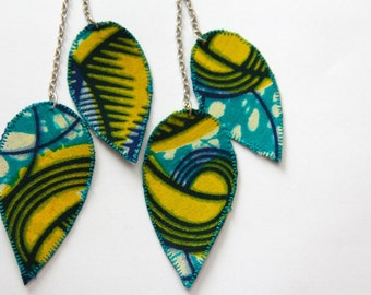 African fabric earrings, African fabric jewelry, teal and yellow earrings, colorful dangle earrings, statement earring, long dangle earrings