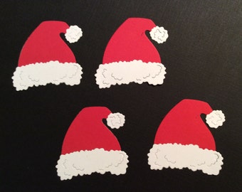 Handmade, 4 - Santa Claus Hats for Christmas Die Cuts