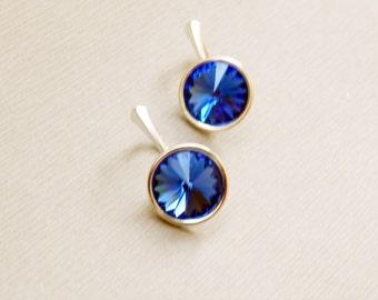 Sapphire blue Swarovski crystal dangle sterling silver leverback earrings Sapphire dangle drop earrings Swarovski dangle earrings