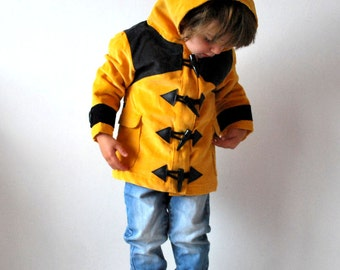 Bumble bee coat CHRISTMAS 2017 - pre order Childrens bee coat yellow black bumble bee insect jacket lined rain coat style hood duffle animal