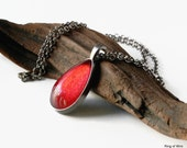 Red Nail Polish Pendant Necklace, Gun Metal Pendant, Red Pendant Necklace, Glass Pendant, Ruby Red Pendant, Teardrop Necklace, 24 inch Chain