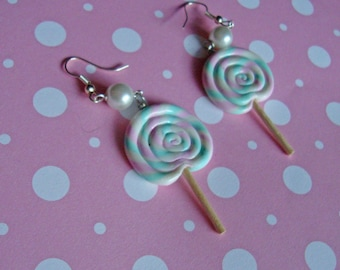 Pastel Strawberry Mint Swirl Lollipop
