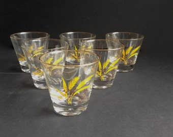Set of Six Old Fashion Glasses with Wheat Pattern