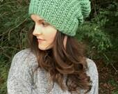 Chunky Knit Slouchy Beanie Hat   Mint Green   Vegan Yarn