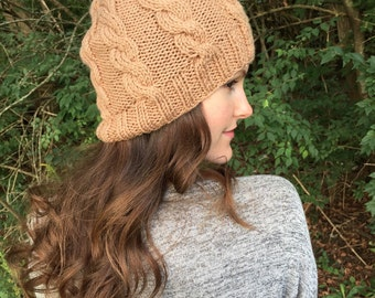 SALE: Brown Knit Cable Beanie Hat   Almond Taupe   Vegan Yarn