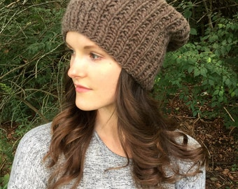 Chunky Knit Slouchy Hat, Warm Wool Earthy Beanie | Mocha | Wool Yarn