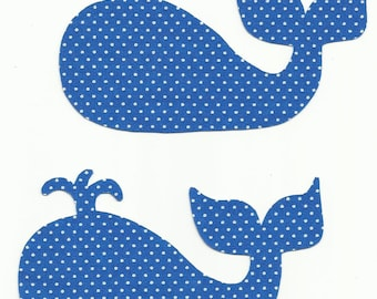 Set of 2 Blue Polka Dot Whales Fabric Iron On Appliques