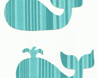 Set of 2 Turquoise Stripped Whales Fabric Iron On Appliques