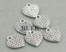 Heart Charms BULK order Antique Silver woven heart 40pcs zinc alloy beads 10X11mm CM0463S