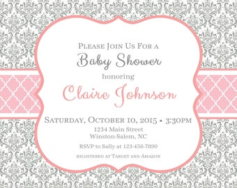 Traditional Pink Gray Girl Baby Shower Party Invitation--Gray Damask, Pink Quatrefoil