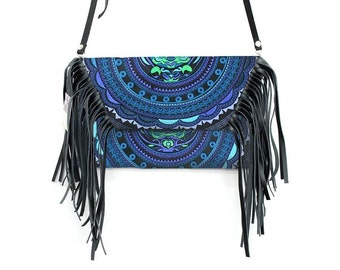 Leather Fringed Cross Body & Clutch with Removable Strap  (BG4395-46C6)