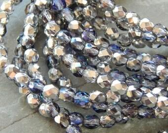 4mm Silver Blue Crystal PRECIOSA Traditional Czech Fire Polished Glass Beads, Full Strand / 50 PC (Incz5525)