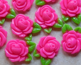32X23mm Hot Pink Resin Rose - Flower Flat Back Cabochons with Green Leaves, 10 PC (INDOC409)