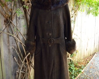 Vintage 1960s-1970s A Line Brown Suede Coat with Fur Collar and Cuffs