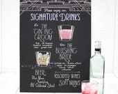 "Signature drink menu for wedding bar, 15""x20"" art board, custom ink drawing, chalkboard art inspired"