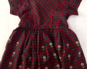 Vintage 1950s Girls' Red Green Plaid Embroidered Dress by Little Miss Brent (Montgomery Ward) 6