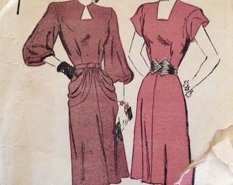 "Vintage 1940s Advance Misses' Dress Pattern 4356 Size 18 (36"" Bust)"